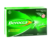 BEROCCA KICK MULTIVITAMINICO CON GUARANA Y CAFEINA 20 COMP FRUIT