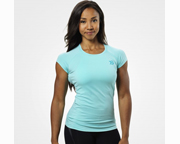 BETTER BODIES POLERA WOMENS PERFORMANCE CUT TEE (M) AQUA