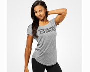 BETTER BODIES POLERA WOMENS GRACIE TEE (M) GREYMELANGE