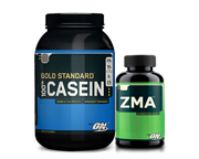 ON NIGHTIME STACK: PROTEINA 100% CASEIN GOLD 2 LBS + ZMA 180 CAP