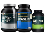 ON PLATINUM MUSCLE BUILDING STACK: HYDROWHEY+CASEIN 4 LB+AMINO 2