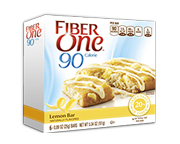 FIBER ONE 90 CALORIE BROWNIE BAR BARRAS PROTEINAS 6 UN LEMON